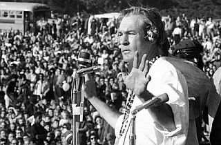 Timothy Leary addressing the assembled thousands at Golden Gate Park, San Francisco, January 14th 1967